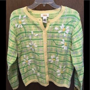 Talbots Daisy Plaid Cardigan Sweater Size PM